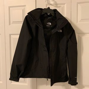 north face black windbreaker rain jacket
